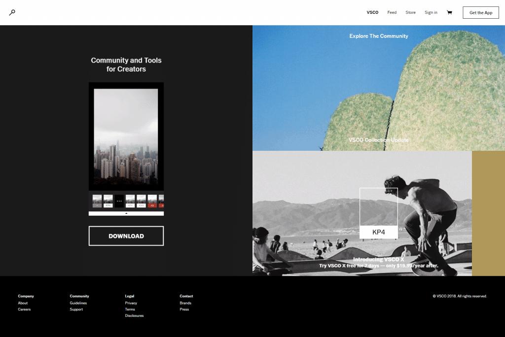 VSCO Homepage