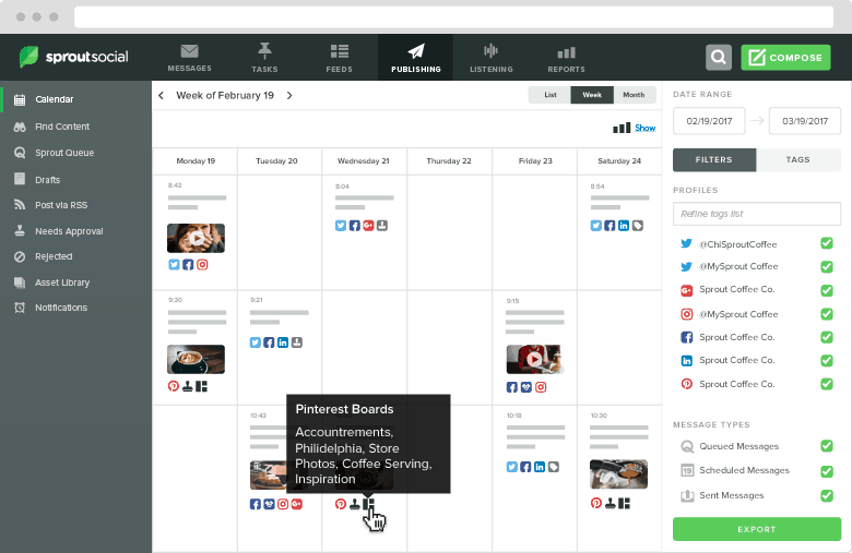 Sprout Social Scheduling Calendar
