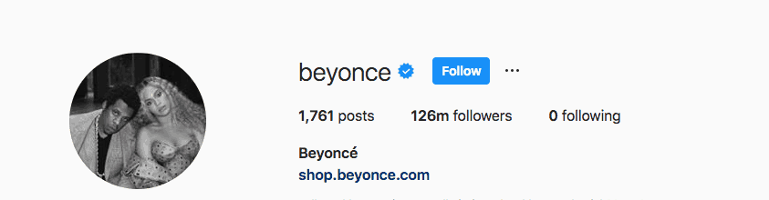 beyonce instagram followers