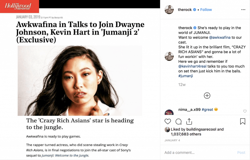 The Rock promotes Awkwafina role in Jumanji