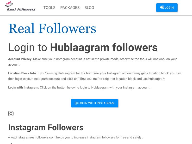 instagram real followers website showing hublaagram