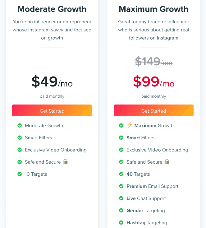 kicksta kickstagram pricing options