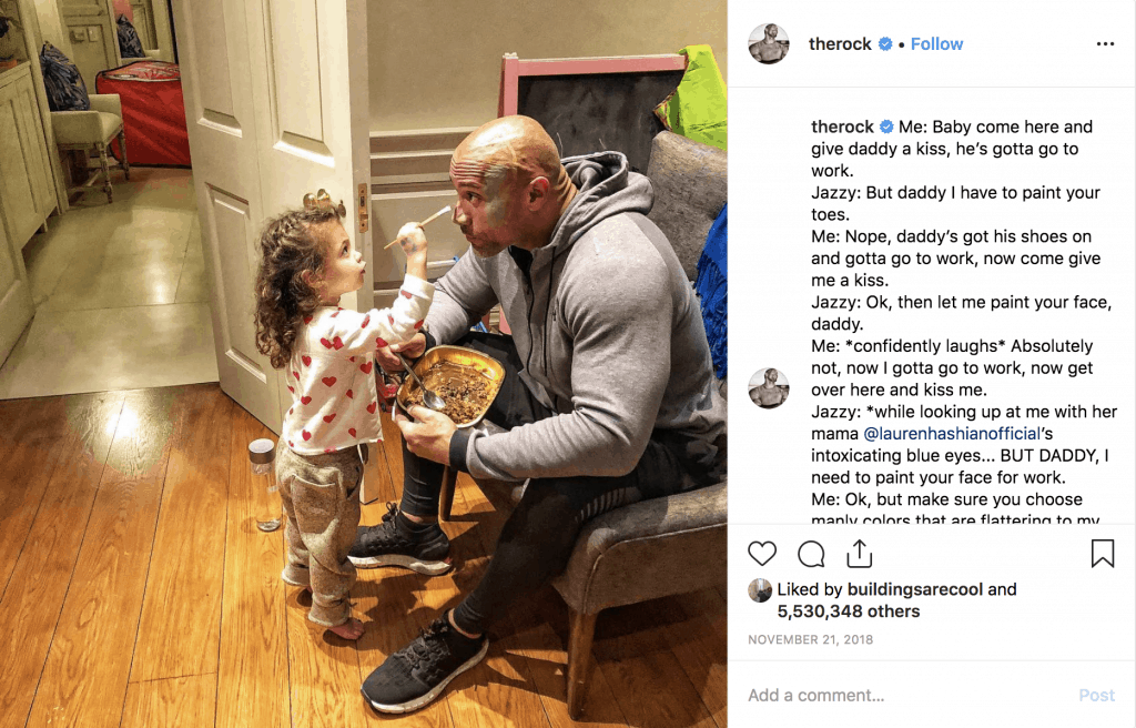 The Rock's daughter paints his face before work