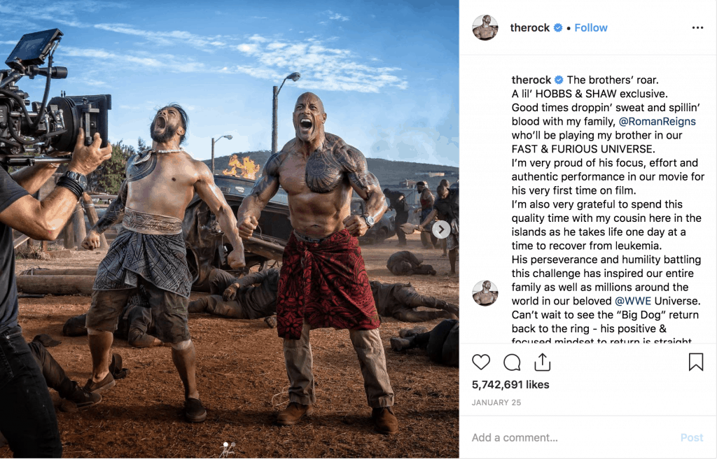 On the set of Hobbs & Shaw with Roman Reigns
