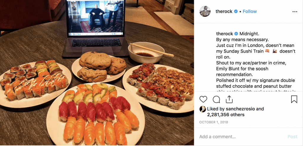 The Rock's sushi dinner