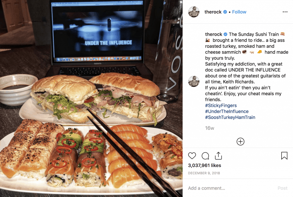 The Rock's insane sushi and sandwich meal