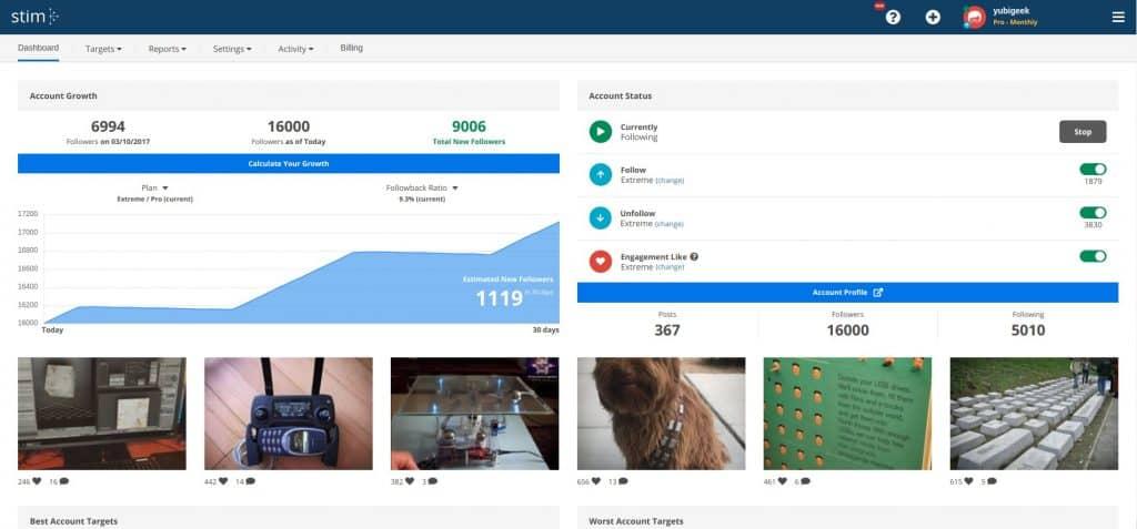 stim social dashboard