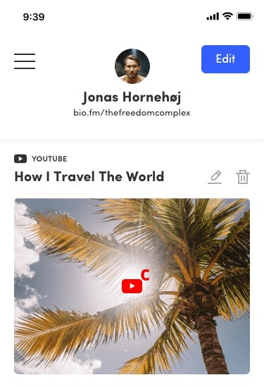 bio.fm embed Youtube in Instagram