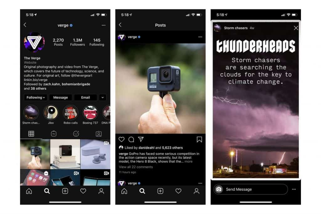 Examples of dark mode on Instagram