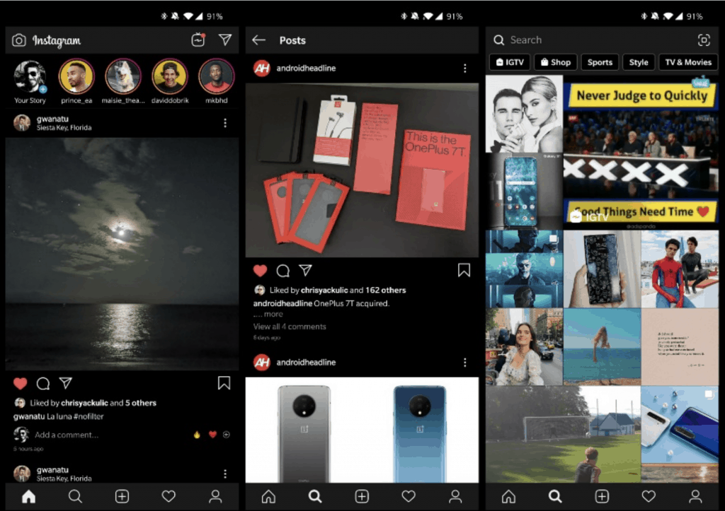 Instagram Dark Mode Screenshots