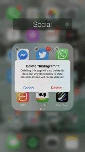 Delete Instagram App from iPhone