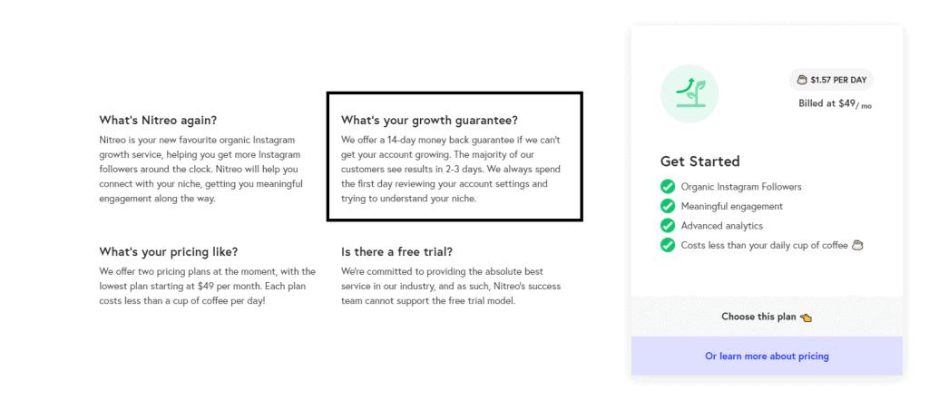 a snapshot of nitreo's growth guarantee