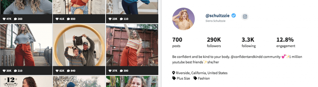 A screenshot of an influencer profile within Heepsy, a platform that helps you find Instagram influencers