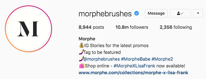 Screenshot of Morphe Brushes' Instagram biography showing their branded hashtags
