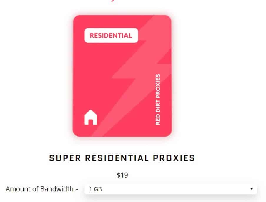 A screenshot of Red dirt proxies residential monthly plan