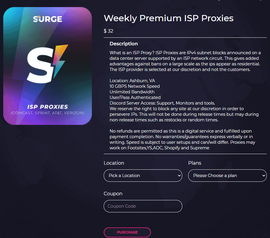 A screenshot of Surge Proxies ISP proxies weekly plans