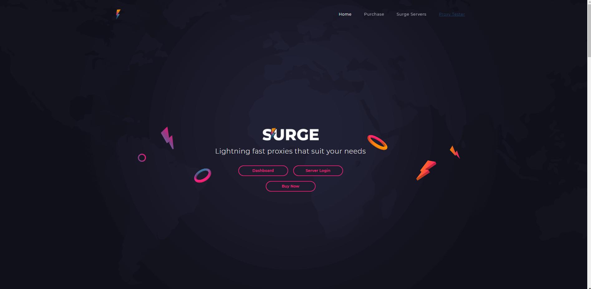 A screenshot of Surge Proxies homepage