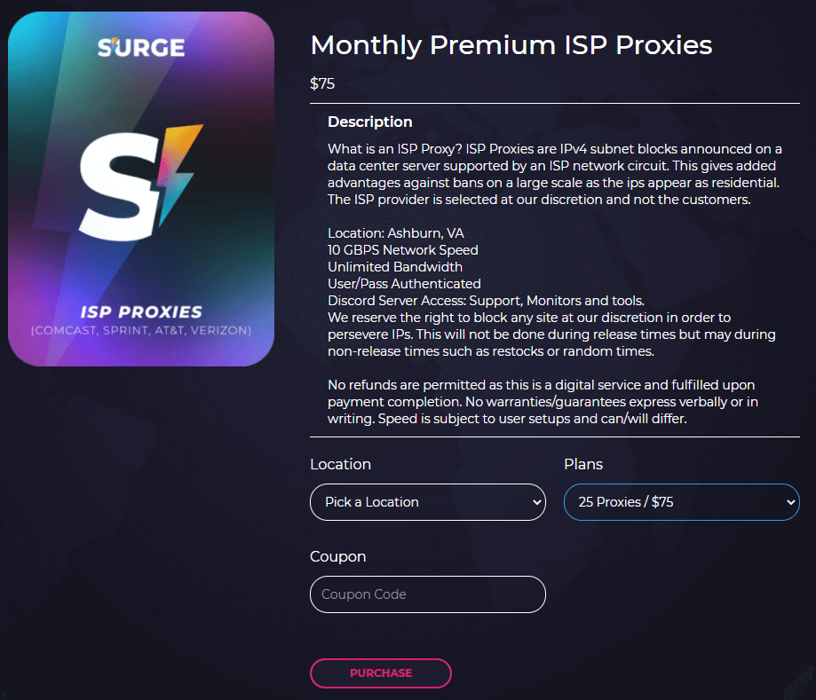 A screenshot of Surge Proxies premium ISP proxies monthly plans