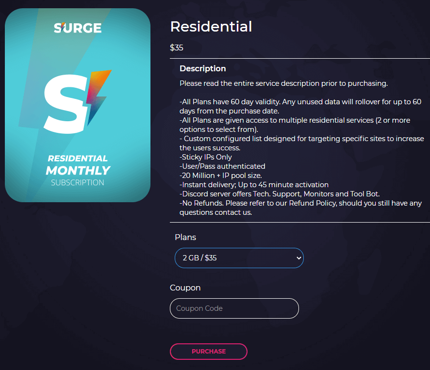 A screenshot of Surge Proxies residential plans