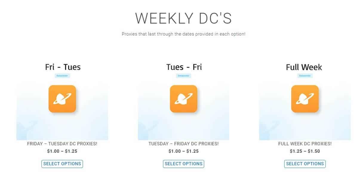 A screenshot showing Brazy Kicks Proxies weekly datacenter plans