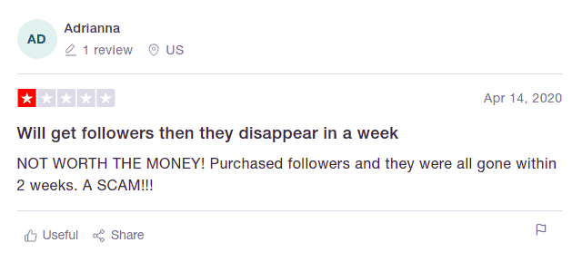 A screenshot showing a negative comment on Trustpilot regarding Fastlykkes.