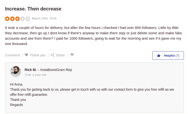 A screenshot of a comment and a reply regarding a refill of followers bought over the Instaboostgram website.