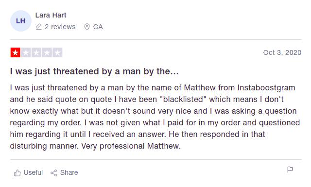 A screenshot of a negative comment regarding the customer support service on the Instaboostgram website.