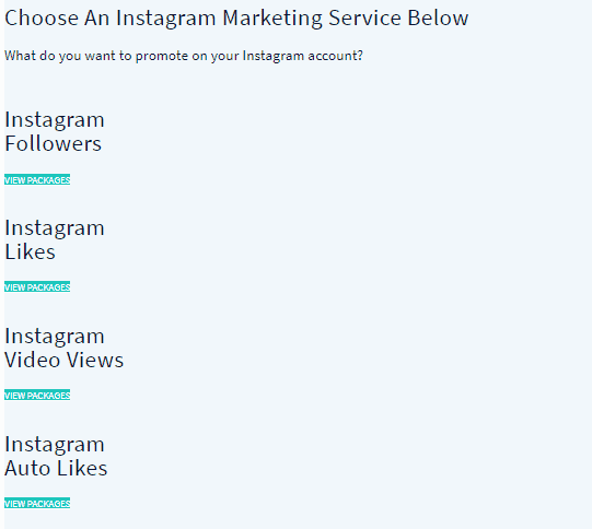 A screenshot showing instagram packages