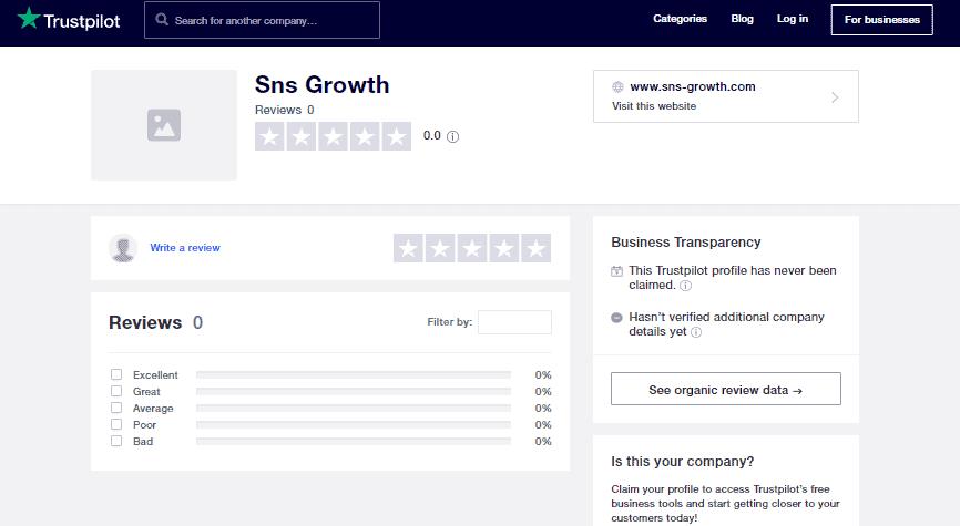 A screenshot showing the trustpilot homepage