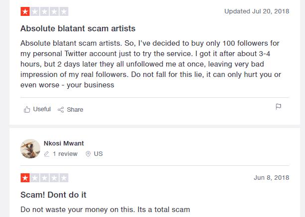 A screenshot showing trustpilot reviews