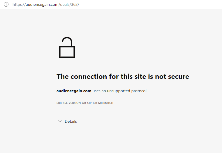 A screen showing unsafe access of the website