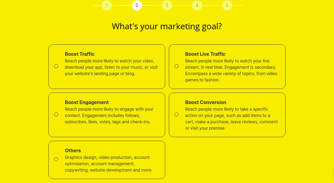 A screenshot showing different marketing goals available on Appsally's website.