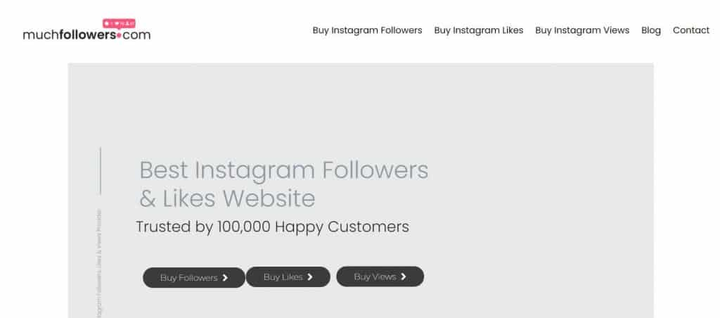 A screenshot of Muchfollower's homepage.